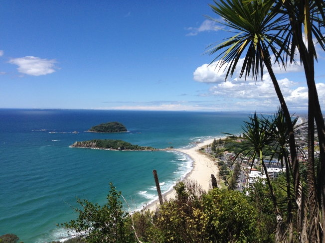 View from up Mount Maunganui looking down over the beach, New Zealand