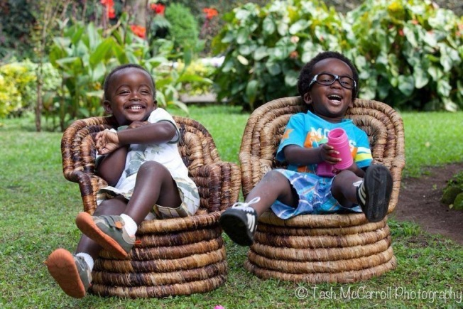 Two of my favourite boys kicking back having a laugh, Rwanda (June 2014)