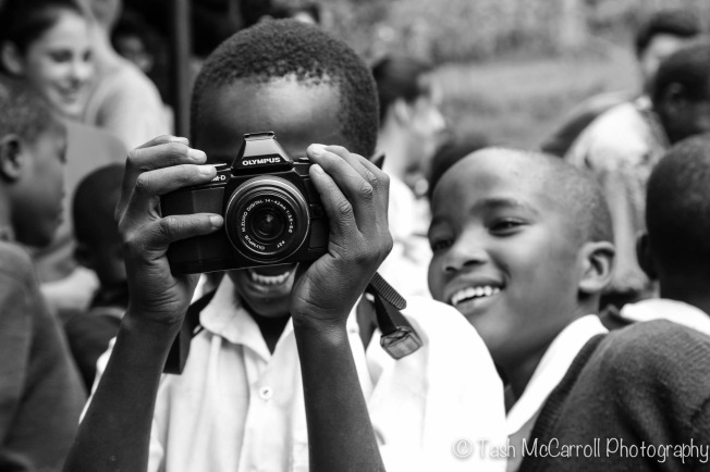 Testing out a camera with children at a school in Arusha, Tanzania (March 2014)