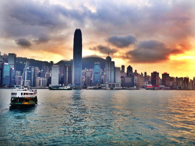 Hong Kong Harbour as the sun goes down (iPHONEOGRAPHY) April 2014