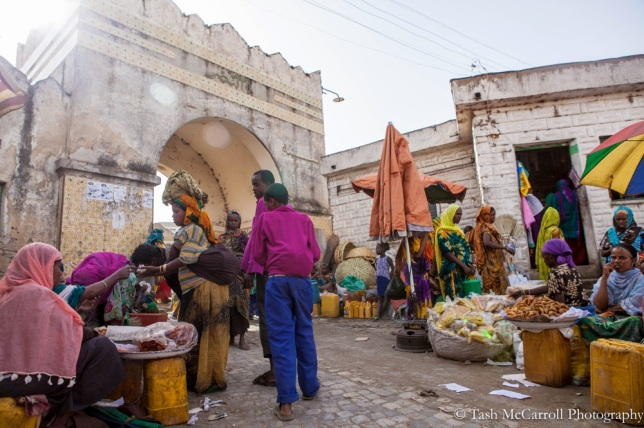 One of the original gates to the city daily hosts a busy colourful market
