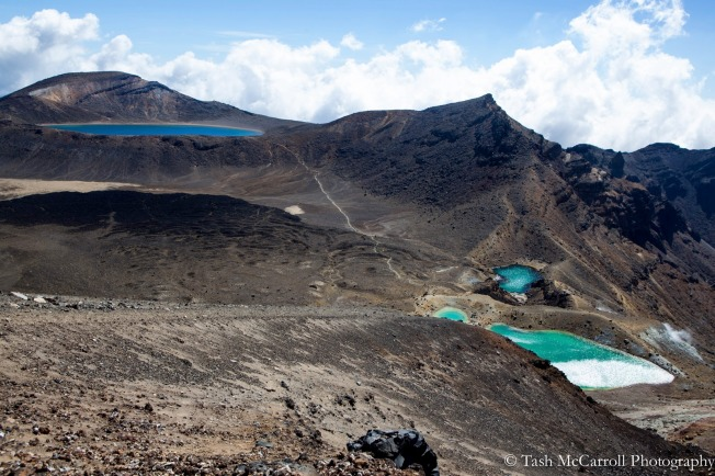 Views of the Emerald lakes, red crater and up to the Blue lake