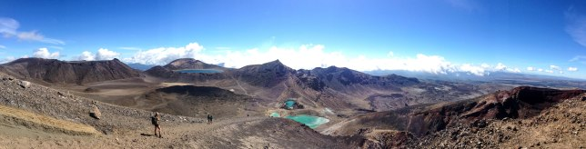 iPHONE panorama overlooking the Emerald Lakes, Red Crater and up to the Blue Lake