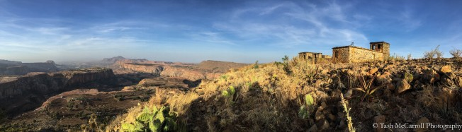 Panorama view of the valley and guesthouse