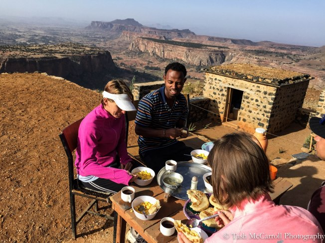Breakfast on the rooftop of the Guesthouse at